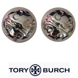Tory Burch Logo worn once stud earrings silver